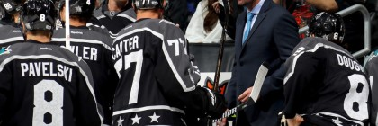 Former San Jose Sharks head coach Peter DeBoer looks during a timeout in the 2017 Honda NHL All-Star Game between the Pacific Division and Central Division All-Stars