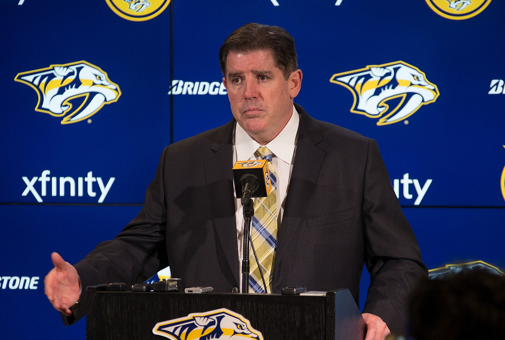 Former Nashville Predators head coach Peter Laviolette speaks to the media after a 4-2 win over the Columbus Blue Jackets