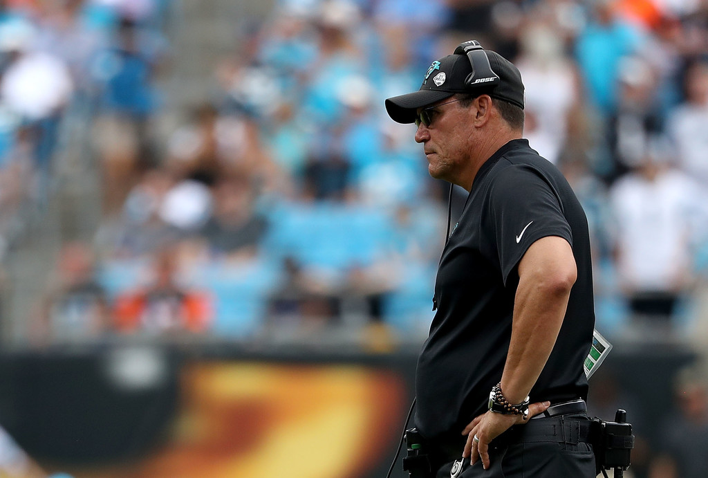 Former Carolina Panthers head coach Ron Rivera looks on as his team takes on the Cincinnati Bengals