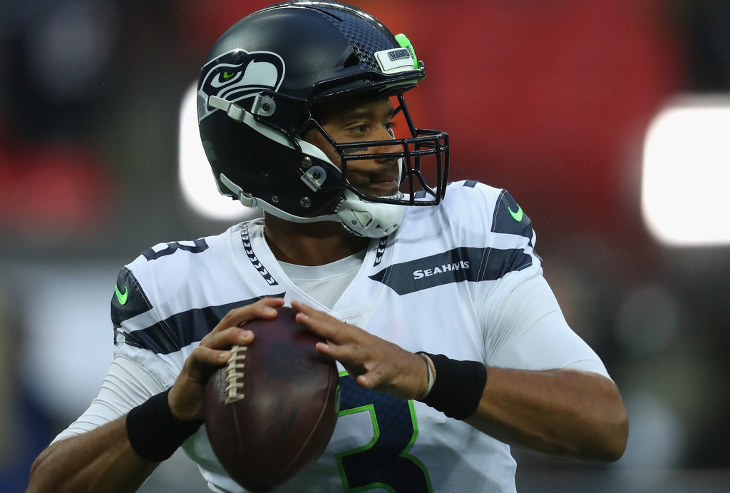 Seattle Seahawks quarterback Russell Wilson is practicing ahead of their NFL International Series game against the Oakland Raiders