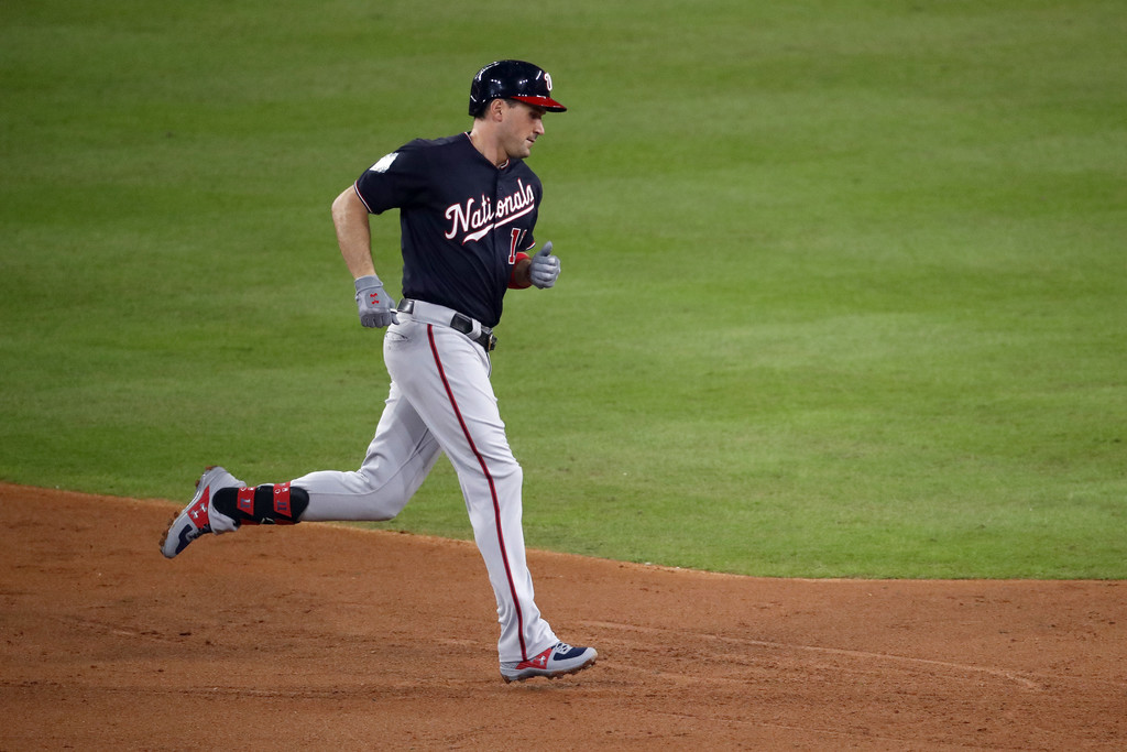 Washington Nationals first baseman Ryan Zimmerman runs the bases after hitting a solo home run against the Houston Astros during the second inning of Game One of the 2019 World Series