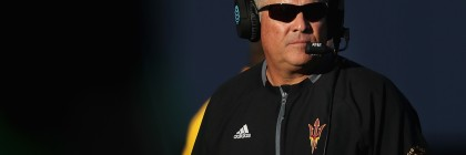 Former Arizona State Sun Devils head coach Todd Graham watches from the sidelines during the first half against the Arizona Wildcats