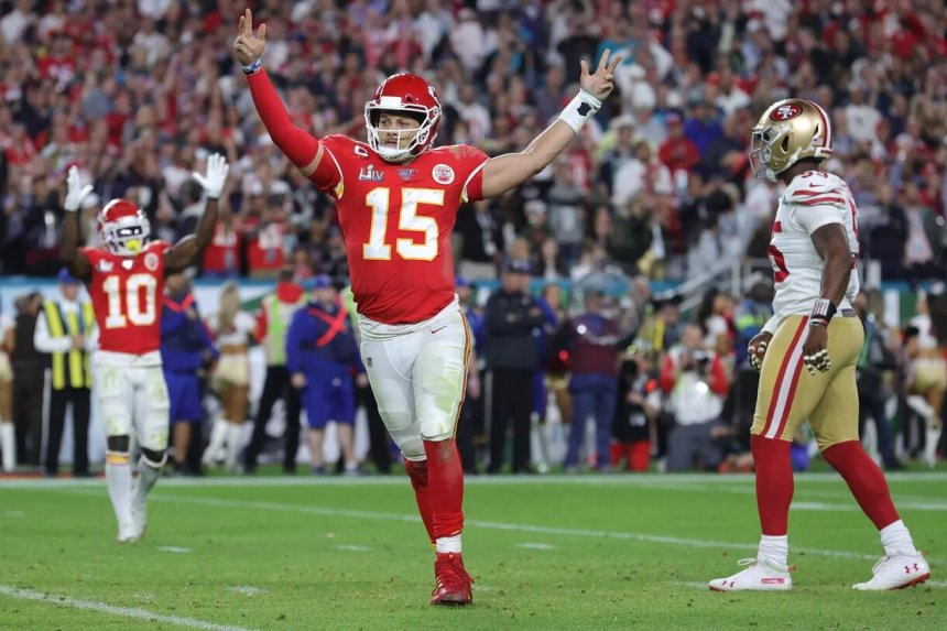 Kansas City Chiefs quarterback Patrick Mahomes II celebrates the Super Bowl LIV win against the San Francisco 49ers