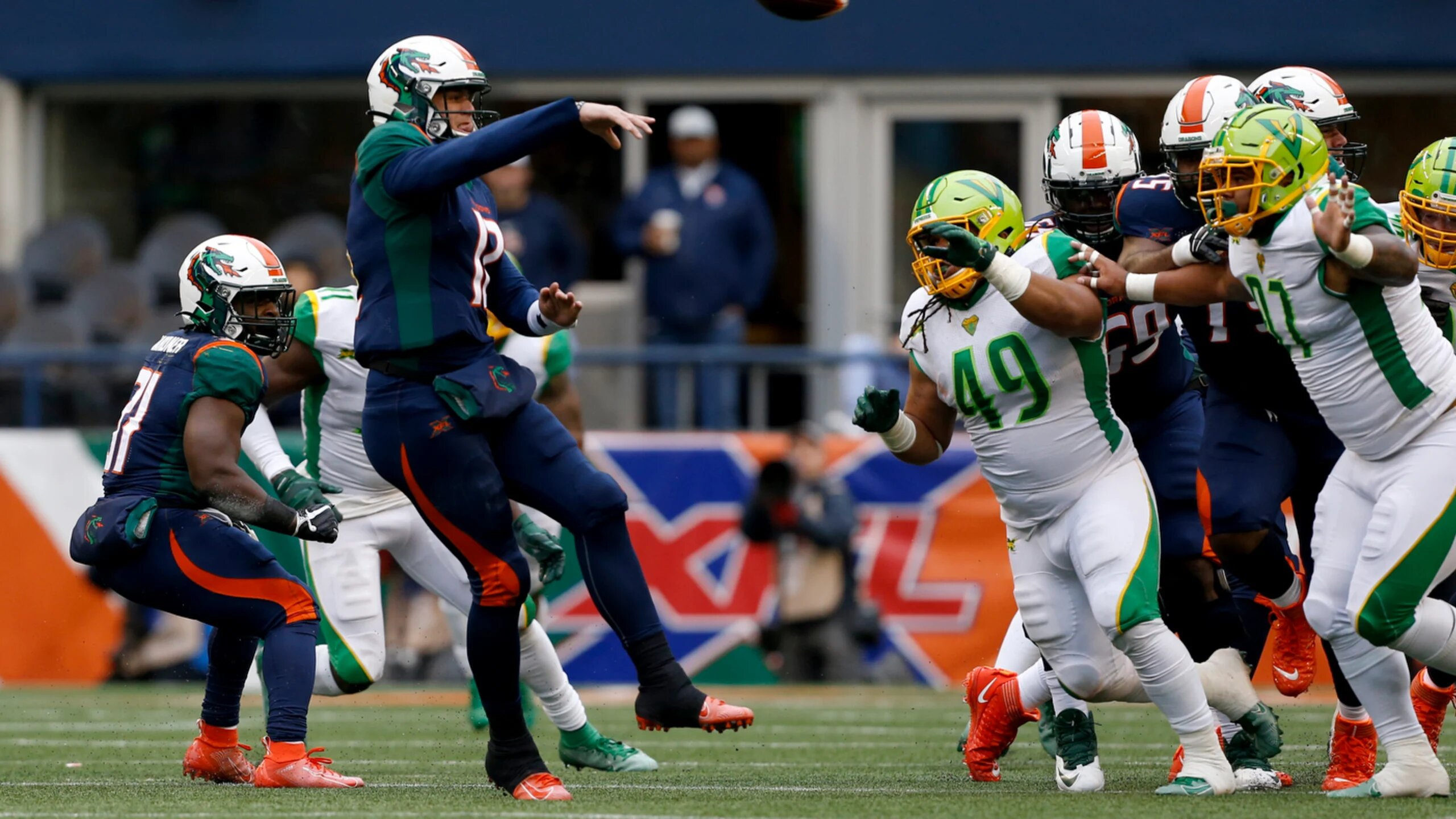 Seattle Dragons quarterback Brandon Silvers attempts a pass against the Tampa Bay Vipers