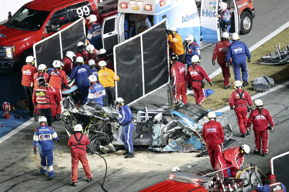 What's left over of Ryan Newman's race car after he was cut out of it following a horrific crash at the Daytona 500