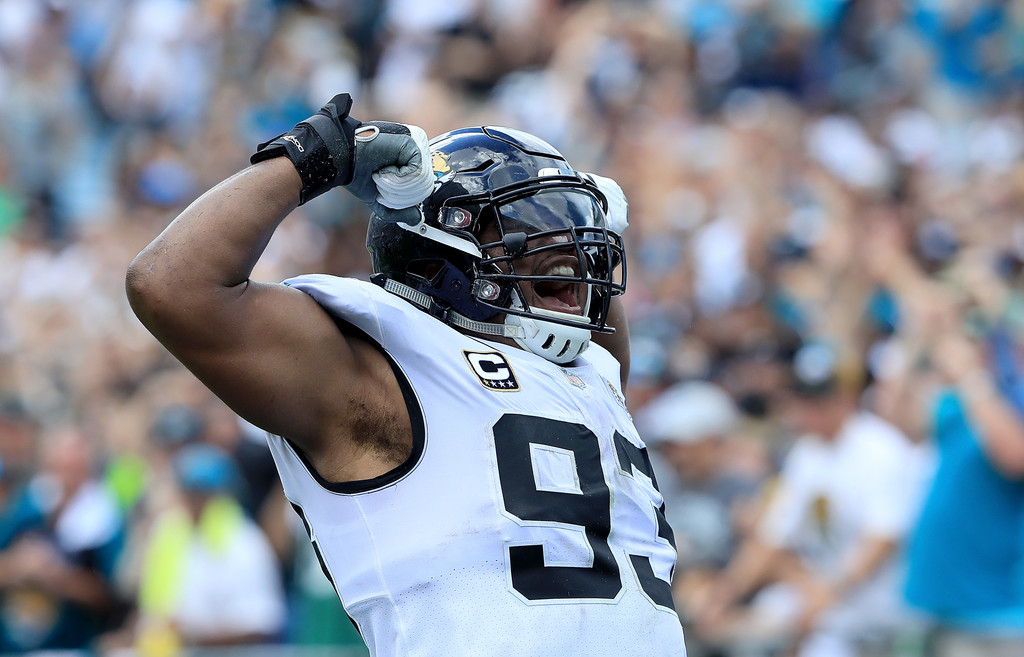 Jacksonville Jaguars defensive end Calais Campbell celebrates a safety against the New York Jets