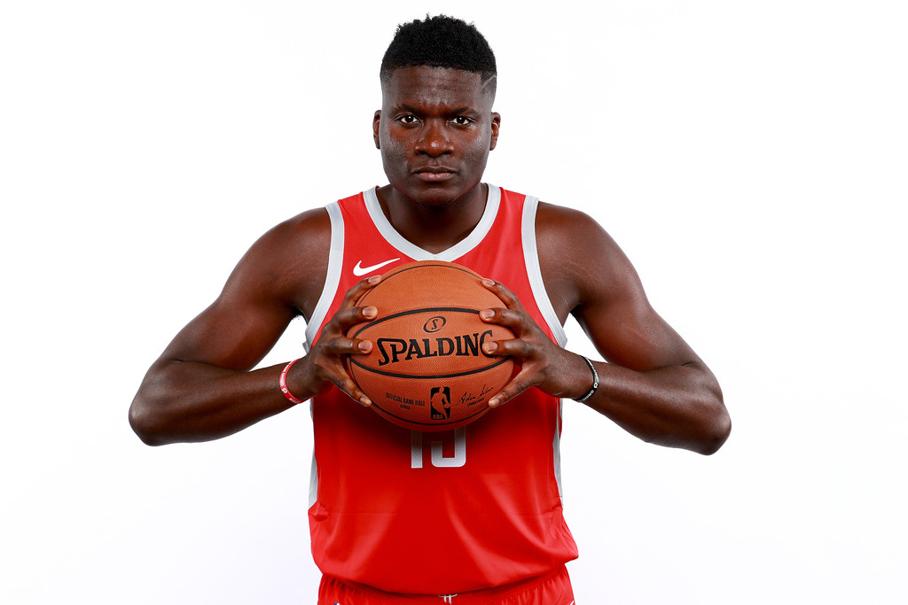 Former Houston Rockets center Clint Capela poses for a portrait during the media day at The Post Oak Hotel