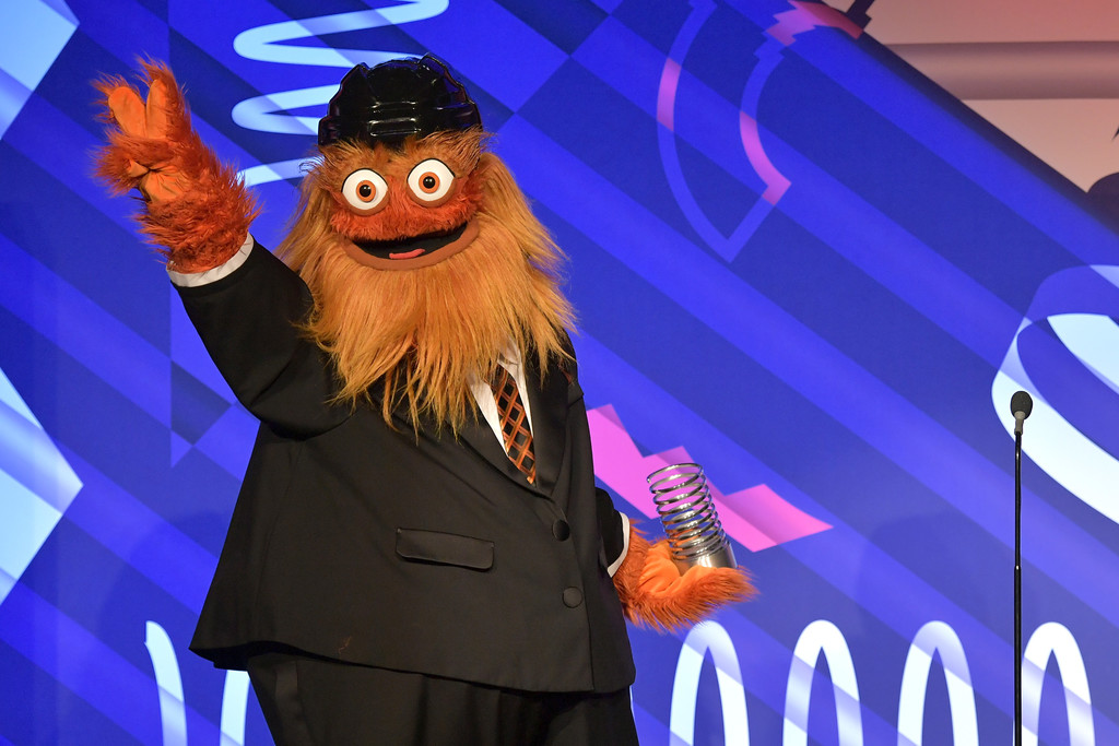 Gritty, the beloved mascot of the Philadelphia Flyers, speaks on stage at The 23rd Annual Webby Awards