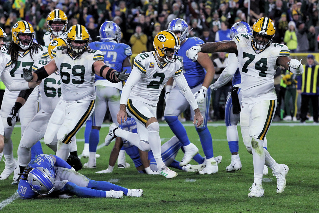 Green Bay Packers kicker Mason Crosby celebrates after kicking a field goal to beat the Detroit Lions