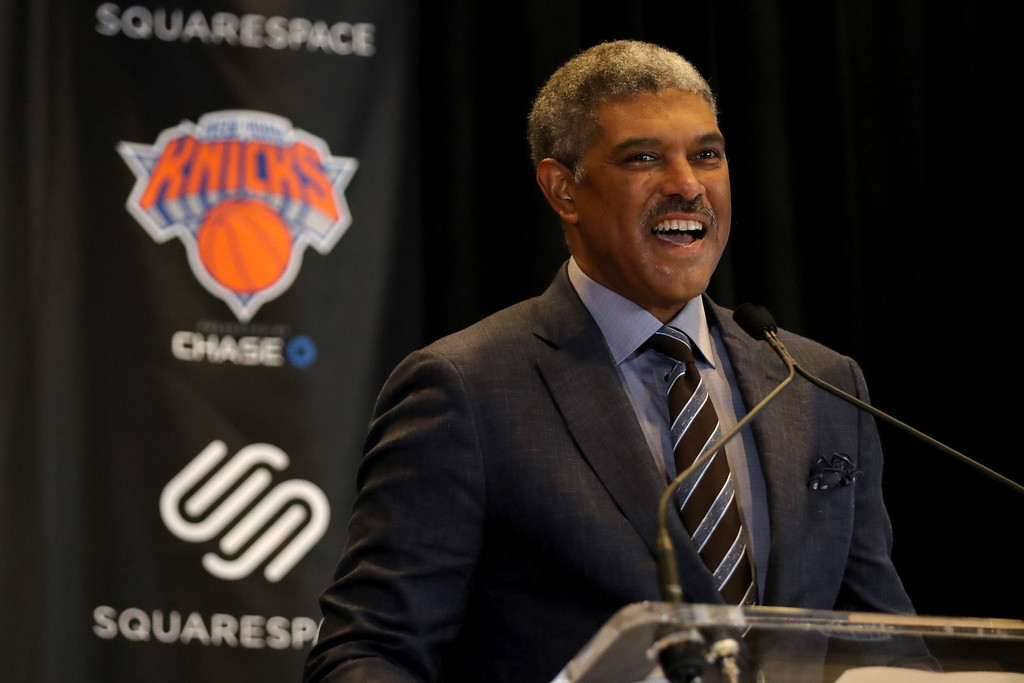 New York Knicks President of Basketball Operations Steve Mills speaks at the unveiling of the Knicks jersey sponsorship press conference with Squarespace