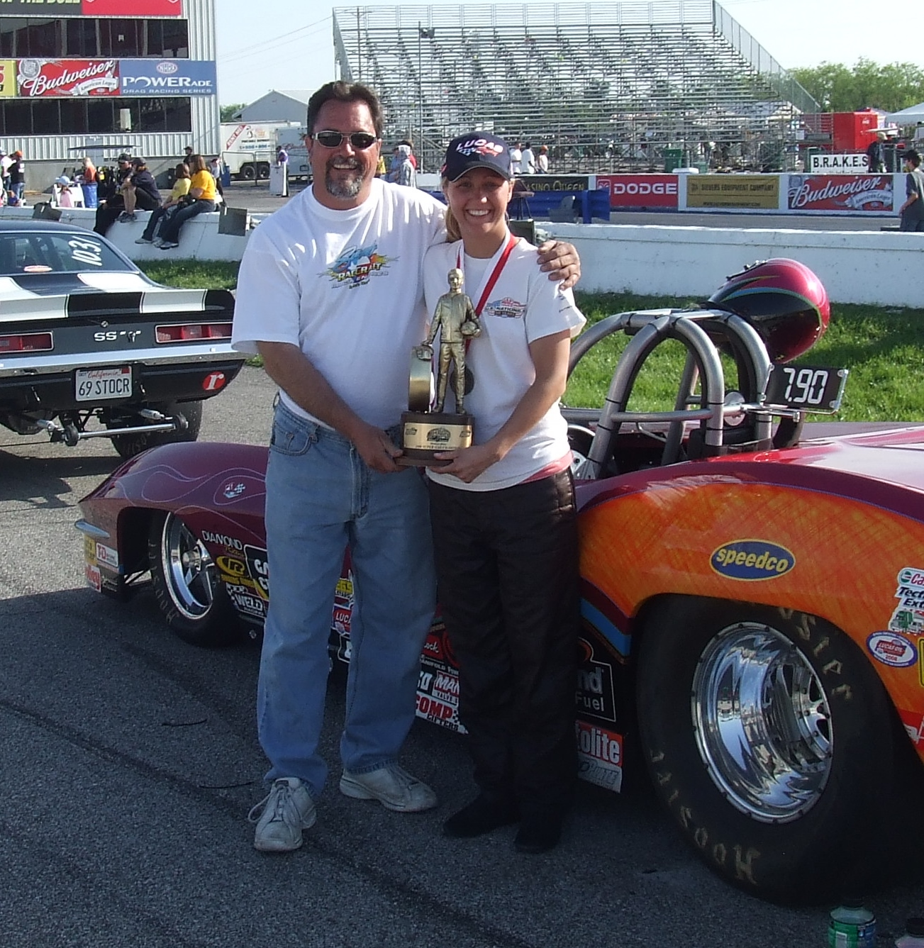Super Gas racer Brina Splingaire following her first win at the O'Reilly NHRA Midwest Nationals