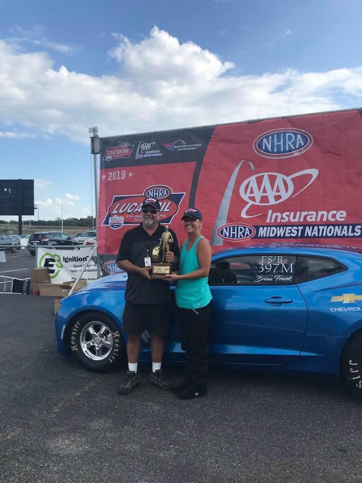 Super Stock racer Brina Splingaire wins a Wally at the AAA Insurance NHRA Midwest Nationals at World Wide Technology Raceway at Gateway