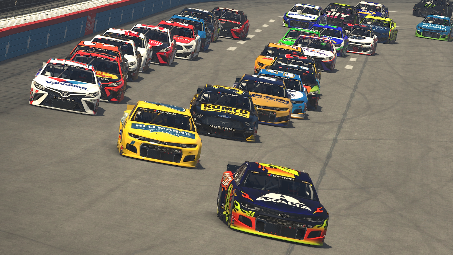 Virtual driver William Byron leads a bunch of cars during the virtual O'Reilly Auto Parts 125 at the virtual Texas Motor Speedway