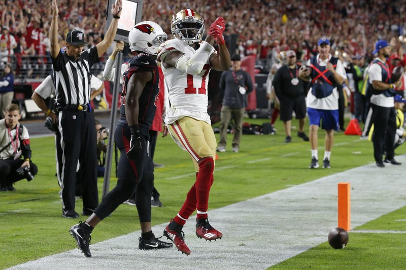 Former San Francisco 49ers wide receiver Emmanuel Sanders celebrates his touchdown against the Arizona Cardinals