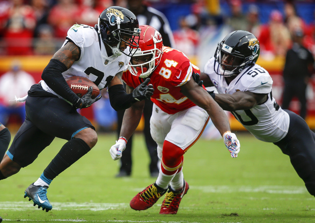 Former Jacksonville Jaguars corner back A.J. Bouye intercepts Patrick Mahomes II against the Kansas City Chiefs