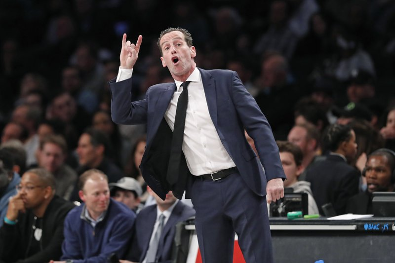 Former Brooklyn Nets head coach Kenny Atkinson gestures to his players against the Memphis Grizzlies