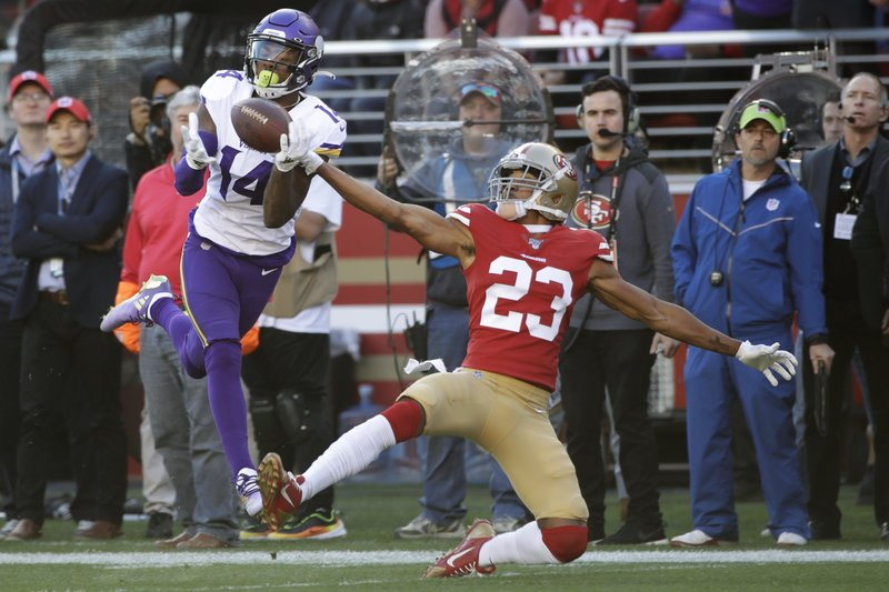 Former Minnesota Vikings wide receiver Stefon Diggs catches a touchdown against the San Francisco 49ers during their 2020 NFL playoff game