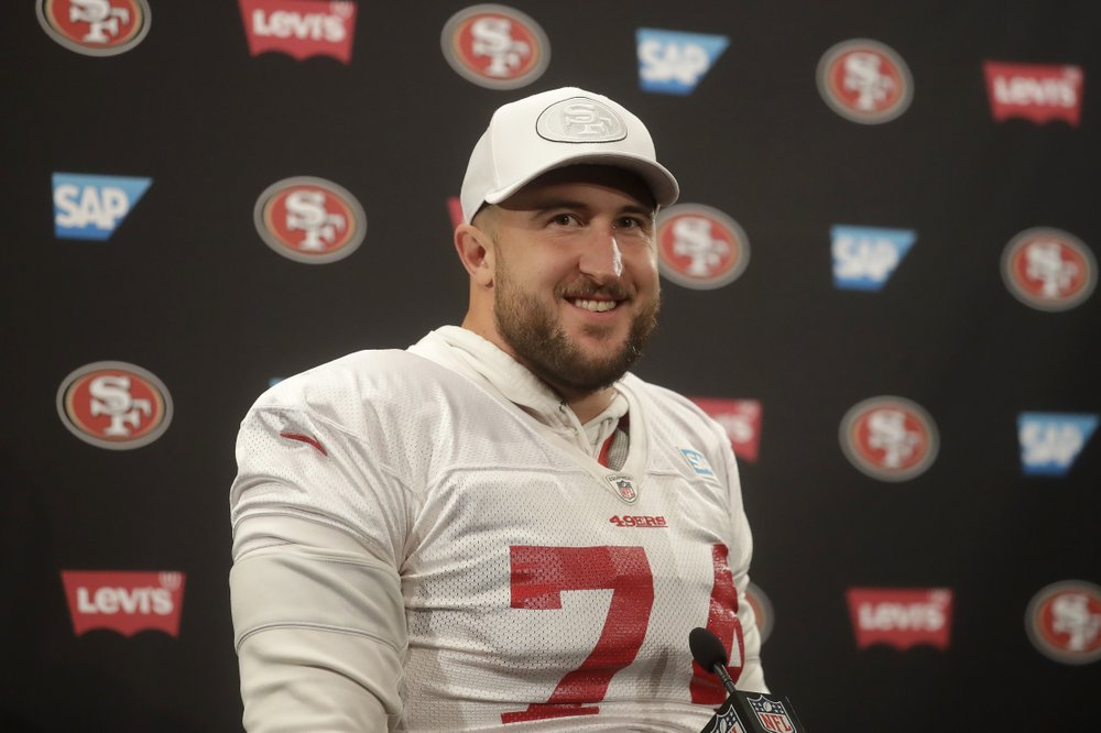 Former San Francisco 49ers tackle Joe Staley speaks to the media during a press conference
