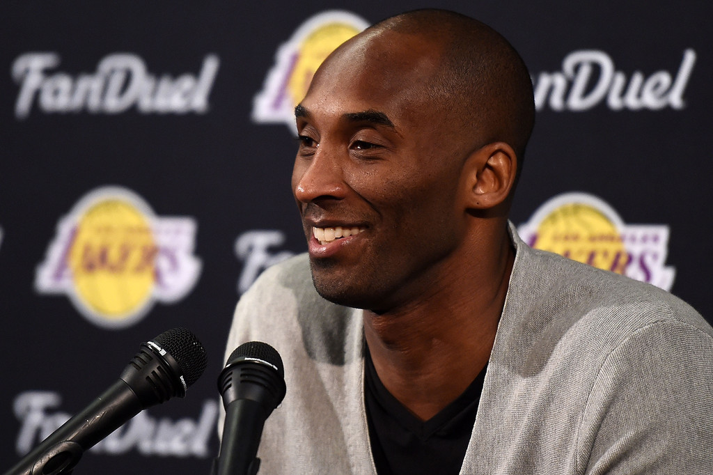 Former Los Angeles Lakers legend Kobe Bryant speaks to the media following a game against the New Orleans Pelicans