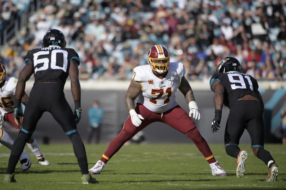 Former Washington Redskins All-Pro tackle Trent Williams sets up to block Yannick Ngakoue against the Jacksonville Jaguars