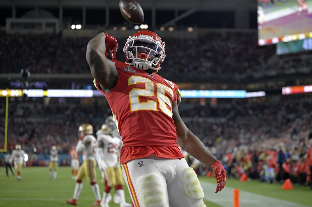 Kansas City Chiefs running back Damien Williams celebrates after scoring a touchdown against the San Francisco 49ers during Super Bowl 54