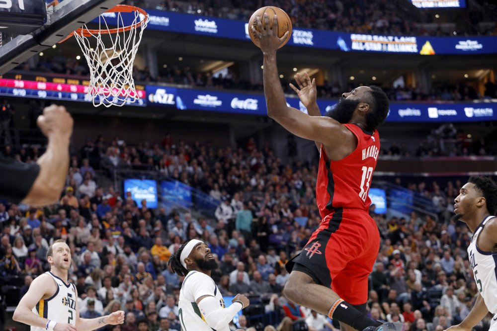 Houston Rockets guard James Harden attempts a shot against the Utah Jazz