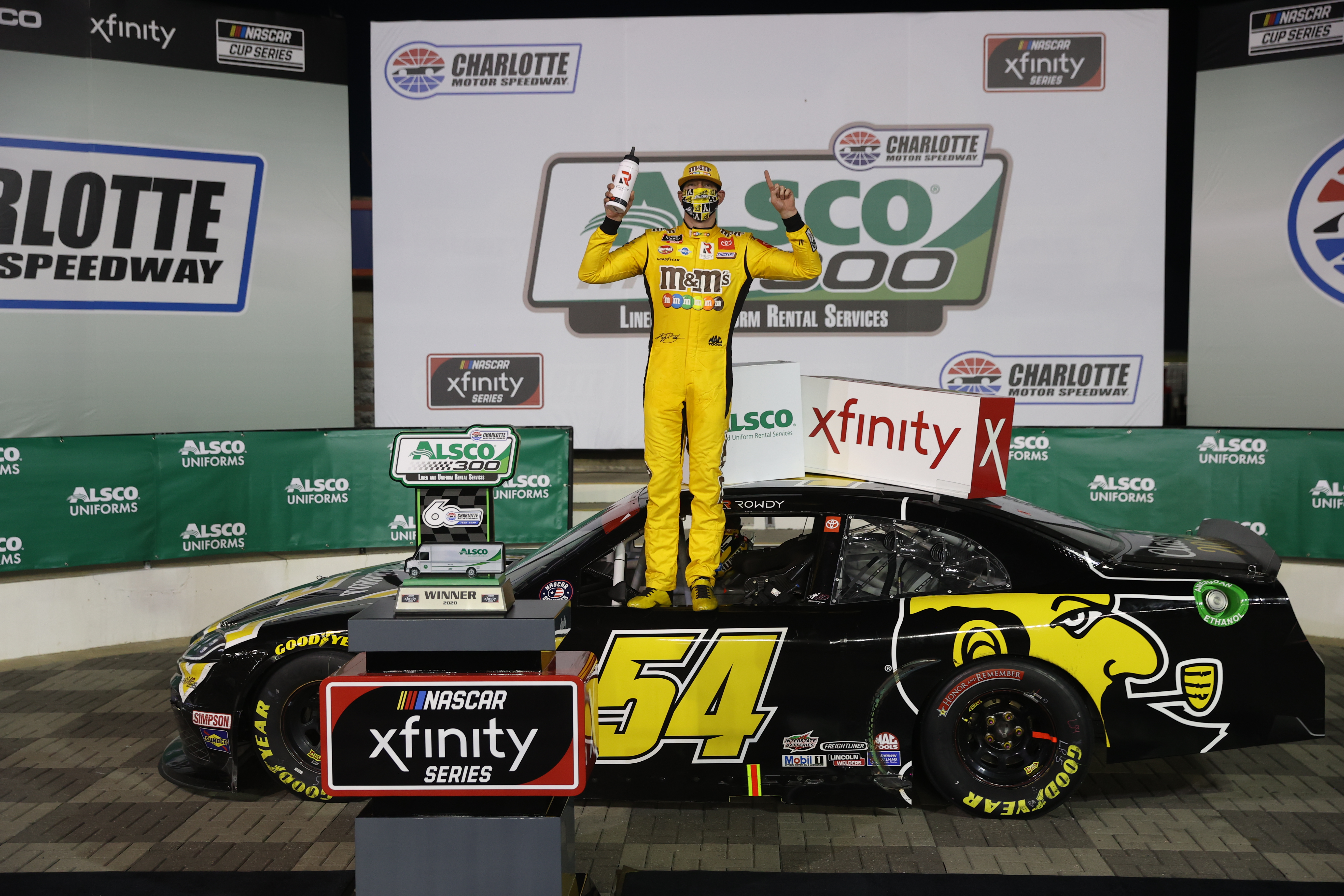 App State Class of 2020 sponsored driver Kyle Busch celebrates in Victory Lane after winning the NASCAR Xfinity Series Alsco 300