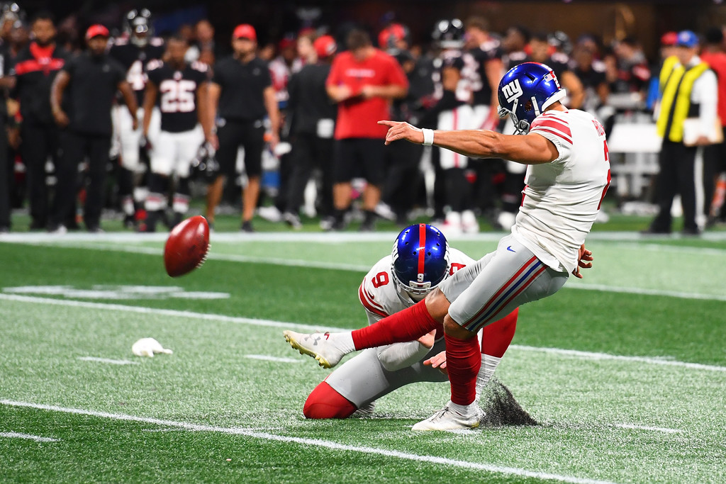 New York Giants kicker Aldrick Rosas attempts a field goal against the Atlanta Falcons