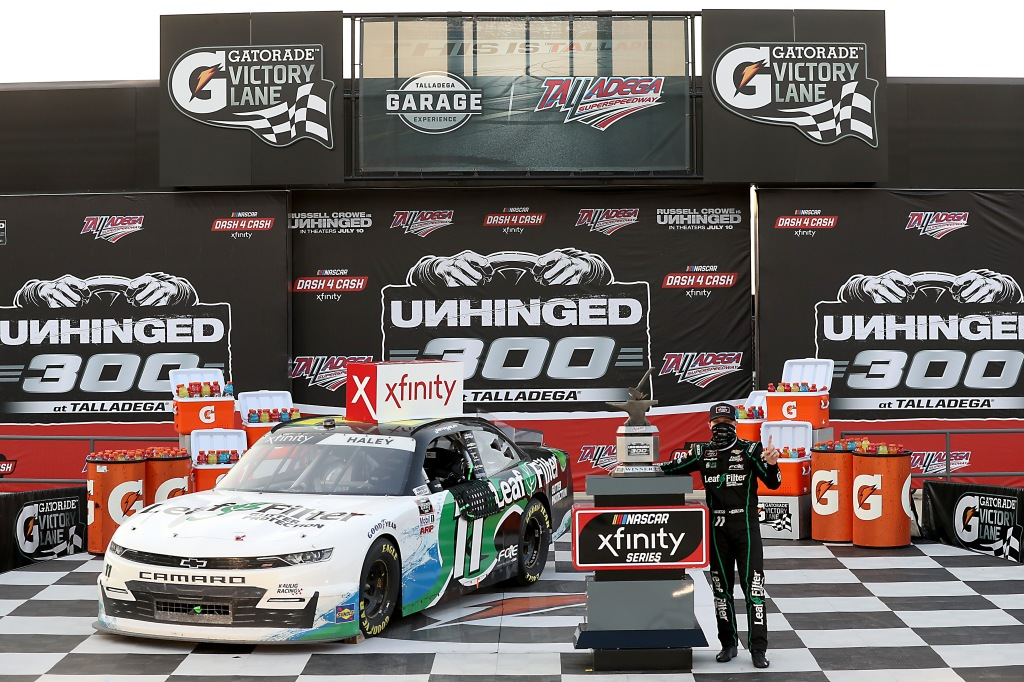 LeafFilter Gutter Protection Chevrolet driver Justin Haley celebrates in Victory Lane after winning the NASCAR Xfinity Series Unhinged 300
