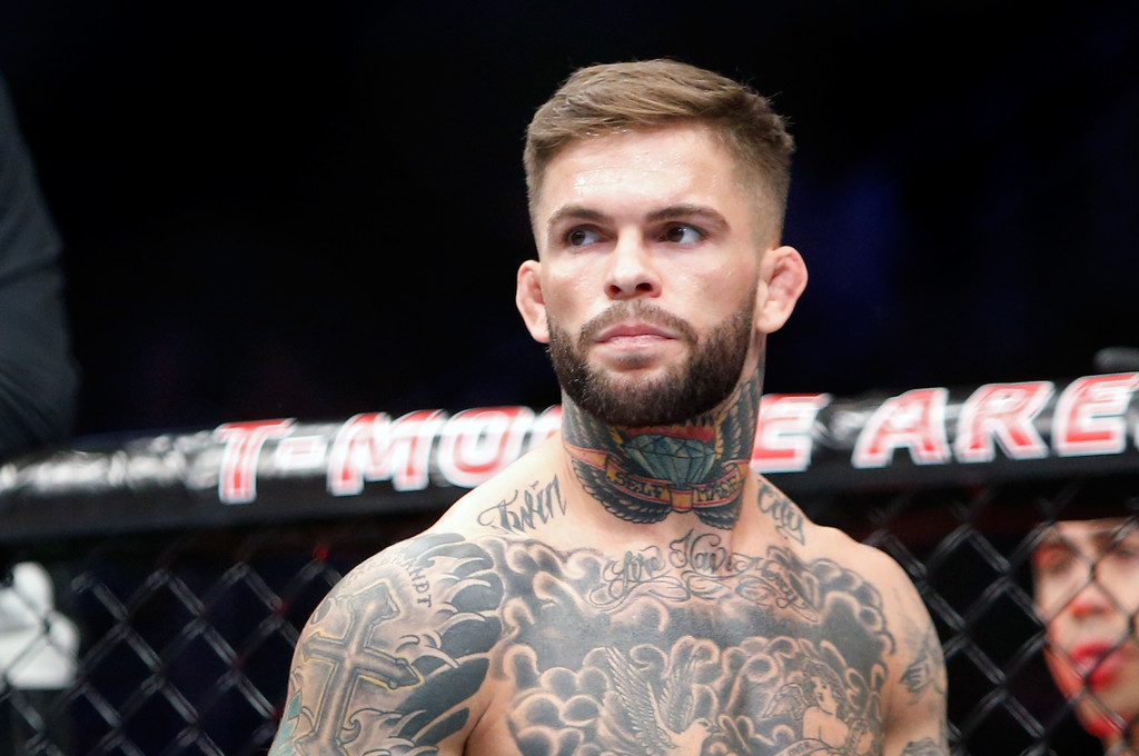 UFC fighter Cody Garbrandt waits for the start of his bantamweight bout against Takeya Mizugaki at the UFC 202 event