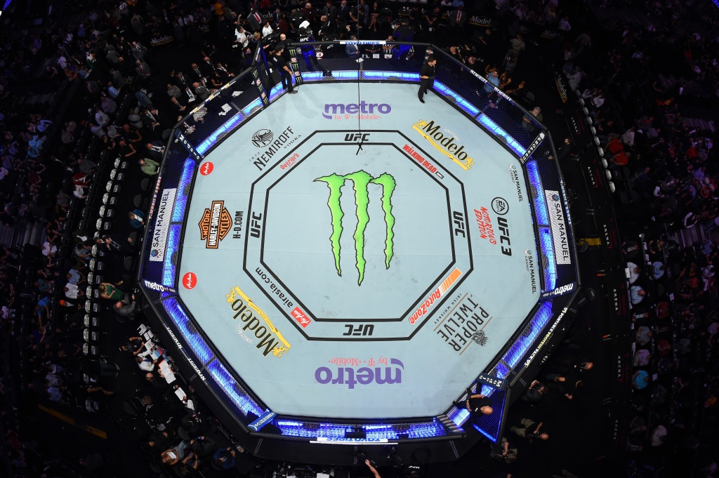 The overhead view of the octagon during the UFC 229 event