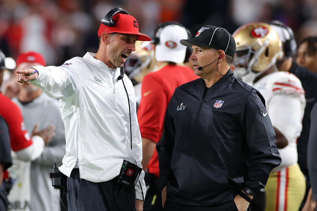 San Francisco 49ers head coach Kyle Shanahan argues with a referee during Super Bowl LIV against the Kansas City Chiefs