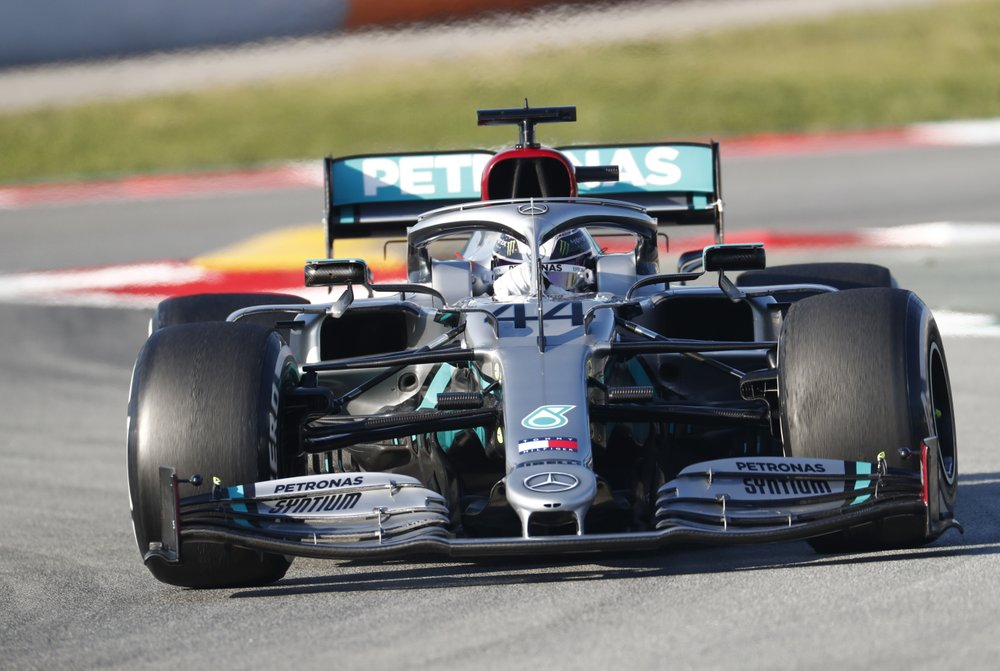 Mercedes-AMG Petronas F1 driver Lewis Hamilton drives during a Formula One pre-season testing session