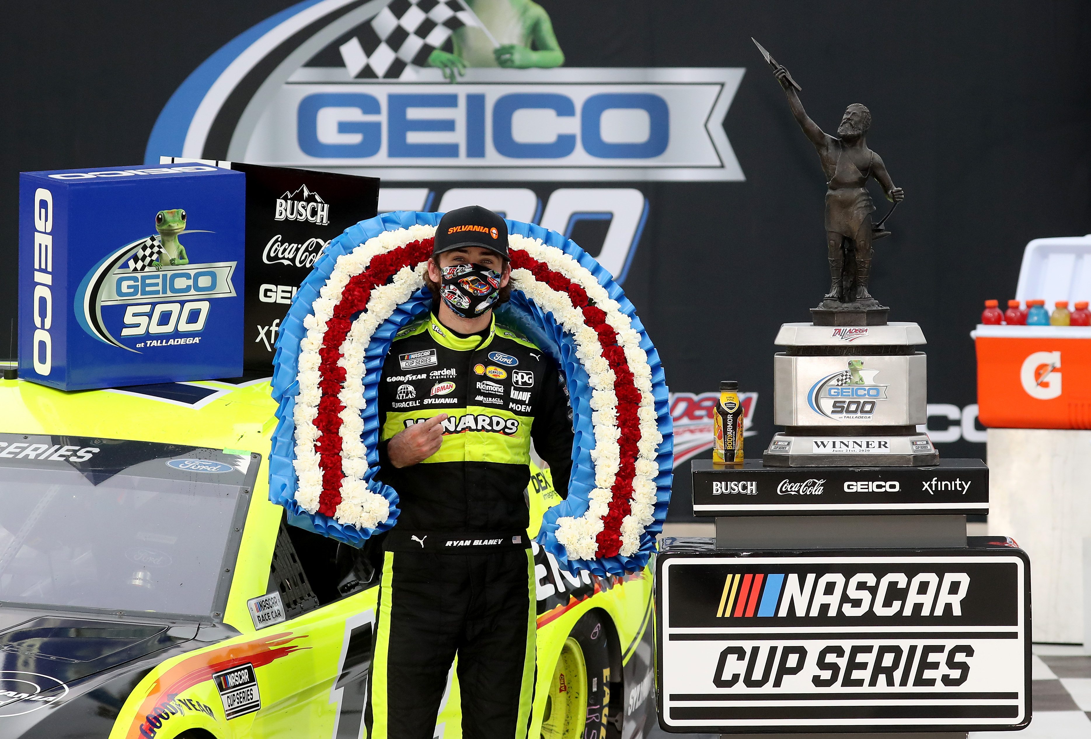 Menards/Sylvania Ford driver Ryan Blaney celebrates in Victory Lane after winning the NASCAR Cup Series GEICO 500