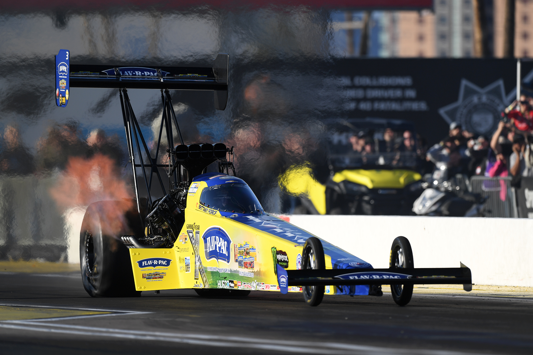 John Force Racing Top Fuel Dragster pilot Brittany Force is the No. 1 qualifier in her category at the NHRA Arizona Nationals