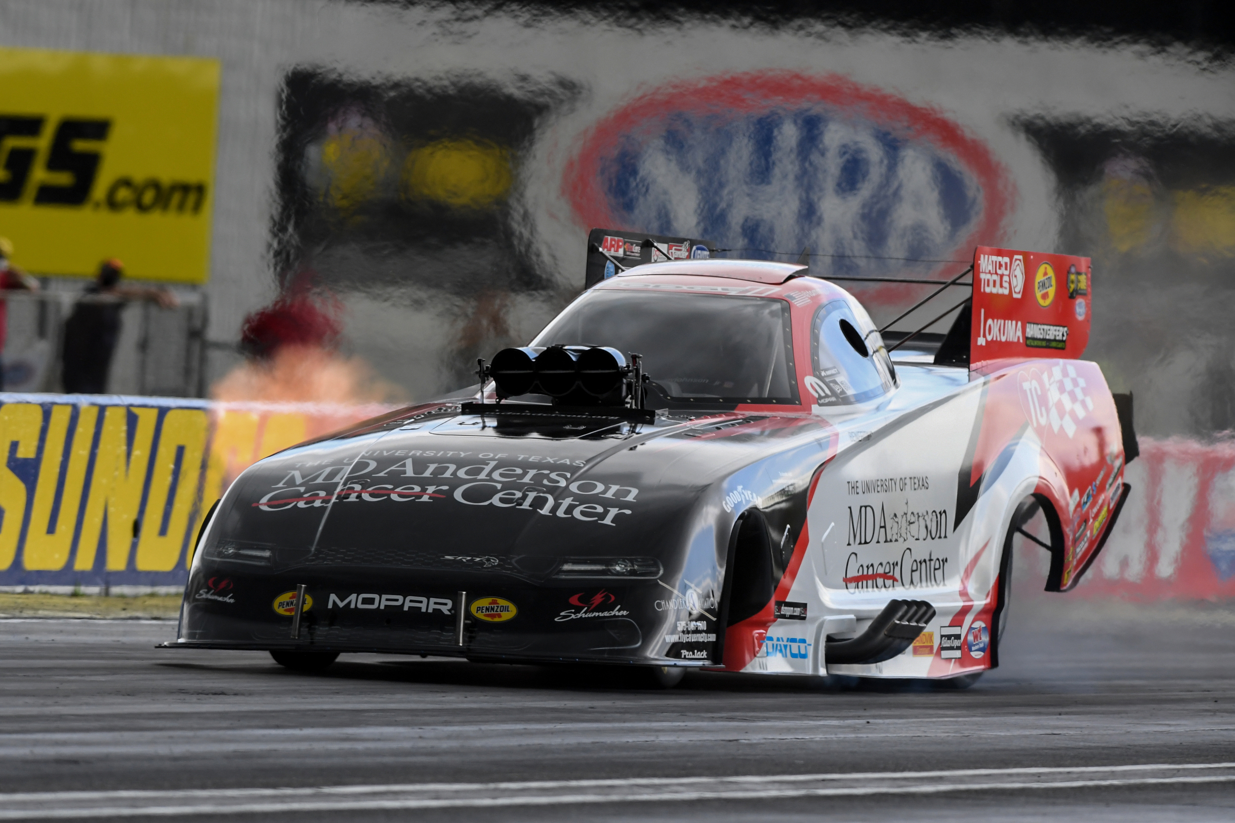MD Anderson Cancer Center Funny Car pilot Tommy Johnson Jr. is the No. 1 qualifier at the E3 Spark Plugs NHRA Nationals