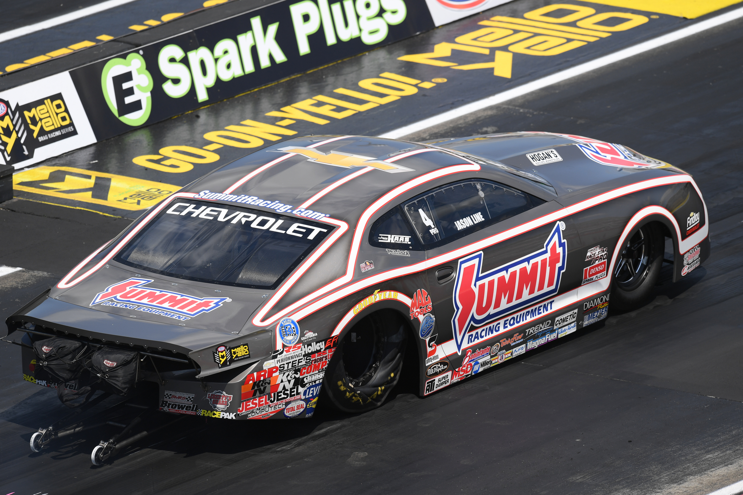 Summit Racing Equipment Pro Stock driver Jason Line is the No. 1 qualifier at the E3 Spark Plugs NHRA Nationals