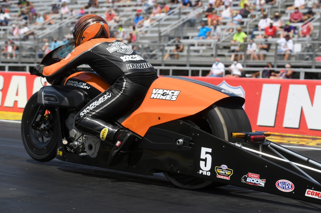 Harley-Davidson Pro Stock Motorcycle rider Eddie Krawiec is the No. 1 qualifier at the E3 Spark Plugs NHRA Nationals