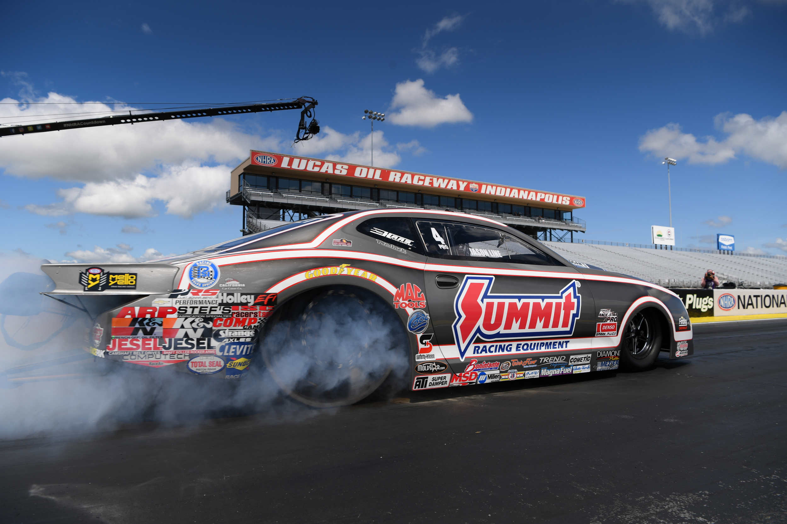Summit Racing Equipment Pro Stock driver Jason Line racing on Sunday at the E3 Spark Plugs NHRA Nationals