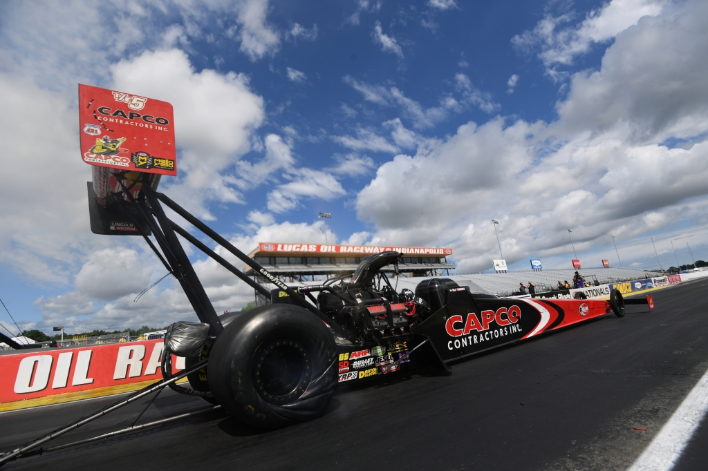 Capco Contractors Top Fuel Dragster pilot Billy Torrence racing on Sunday at the E3 Spark Plugs NHRA Nationals