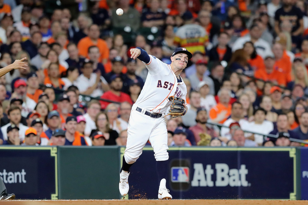 Houston Astros third baseman Alex Bregman fields a ball in the third inning against the Boston Red Sox