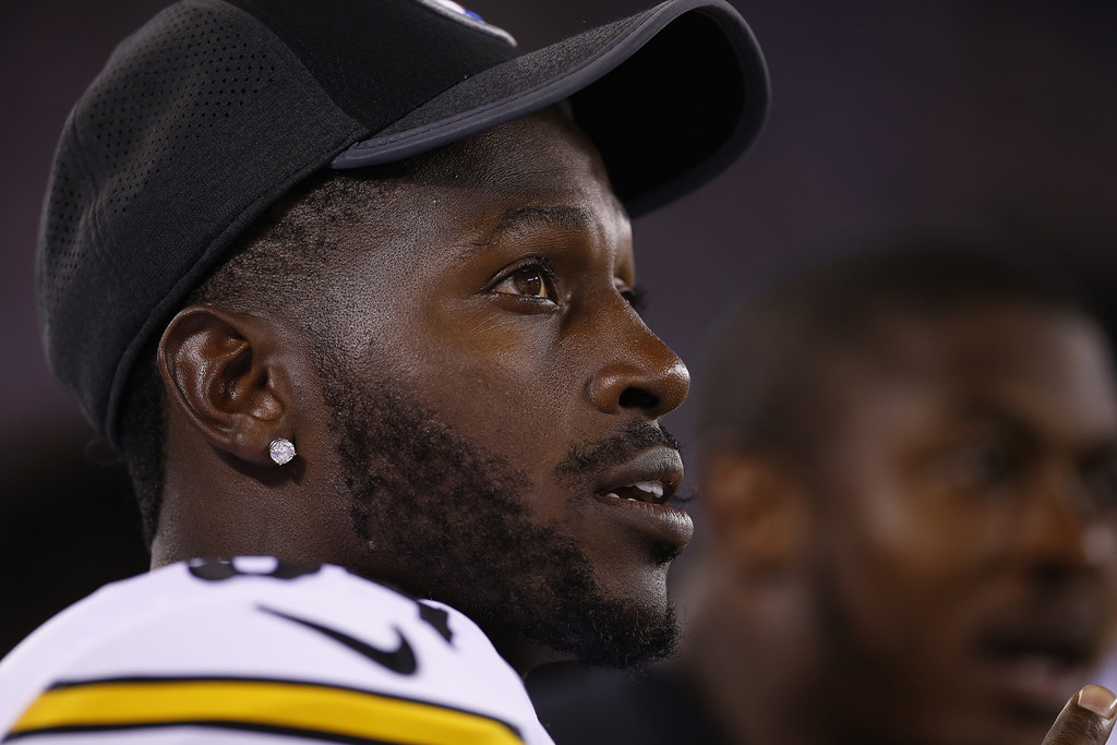 Former Pittsburgh Steelers wide receiver Antonio Brown on the sidelines during a preseason game against the New York Giants