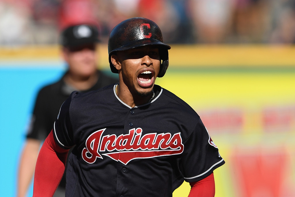 Cleveland Indians infielder Francisco Lindor reacts after hitting a solo home run against the Houston Astros