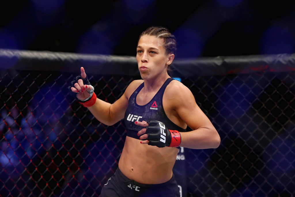 Former UFC fighter Joanna Jędrzejczyk enters the ring of her UFC Women's Strawweight Championship bout against Rose Namajunas at UFC 217