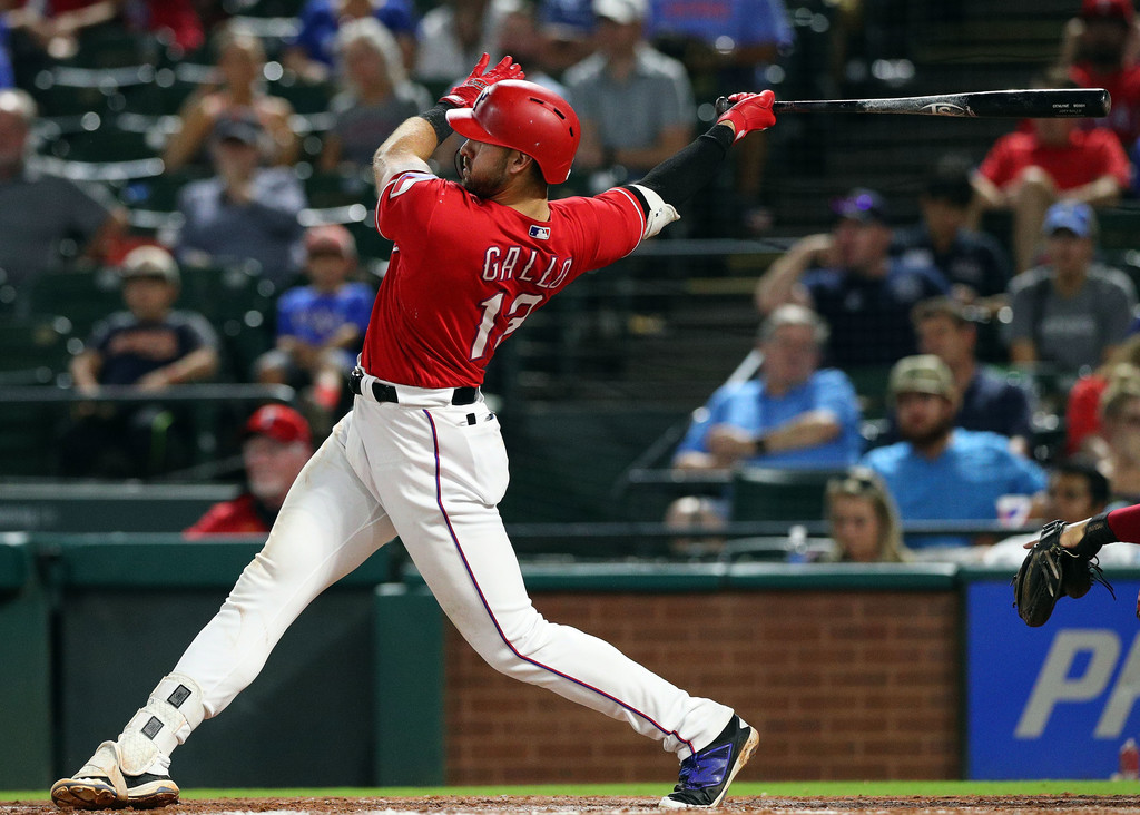 Texas Rangers outfielder Joey Gallo hits an RBI double against the Los Angeles Angels