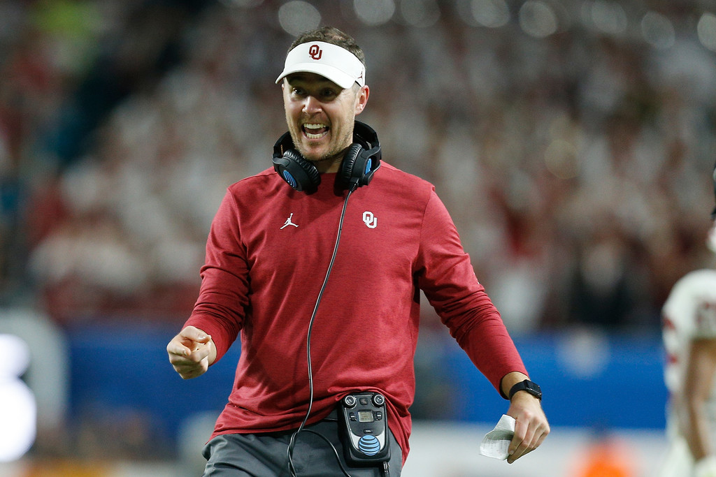 Oklahoma Sooners head coach Lincoln Riley reacts after a play against the Alabama Crimson Tide during the College Football Playoff Semifinal at the Capital One Orange Bowl