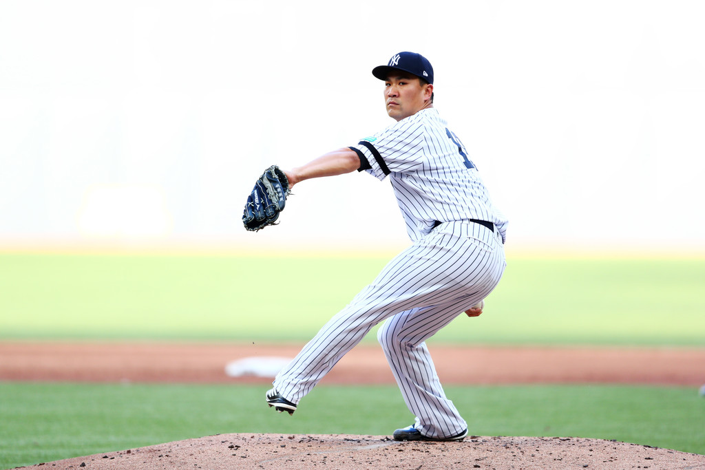 New York Yankees pitcher Masahiro Tanaka pitches against the Boston Red Sox in the MLB London Series