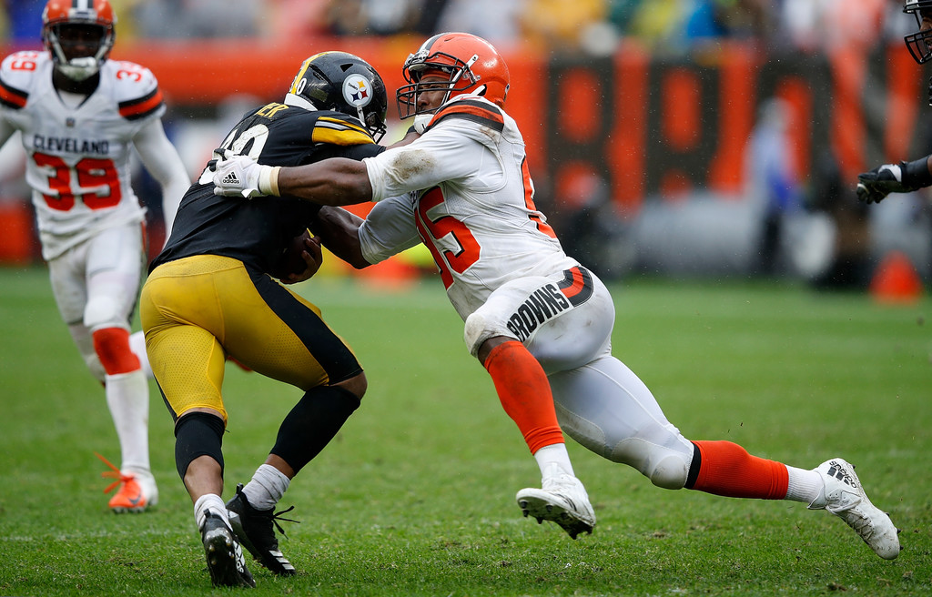 Cleveland Browns pass rusher Myles Garrett forces a fumble on James Conner against the Pittsburgh Steelers