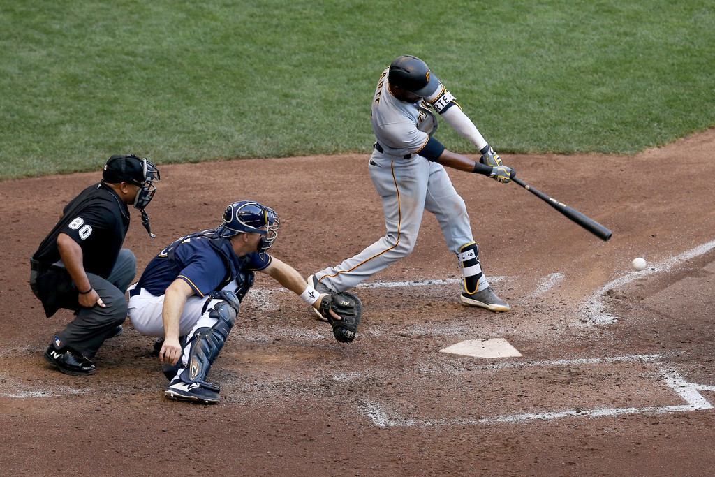 Former Pittsburgh Pirates outfielder Starling Marté grounds out against the Milwaukee Brewers