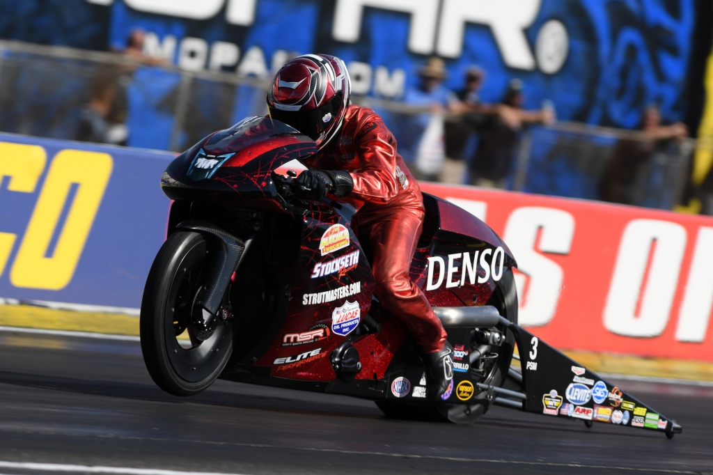 Denso Spark Plus Pro Stock Motorcycle driver Matt Smith racing on Saturday at the Dodge NHRA Indy Nationals presented by Pennzoil